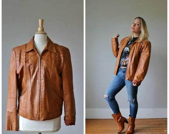ON SALE 1970s Casablanca Cognac Leather Jacket /// Women's Size lg to xl /// Men's Size md to xl