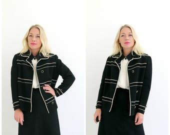 1950s Wool Stripe Jacket /// Size Medium to Large