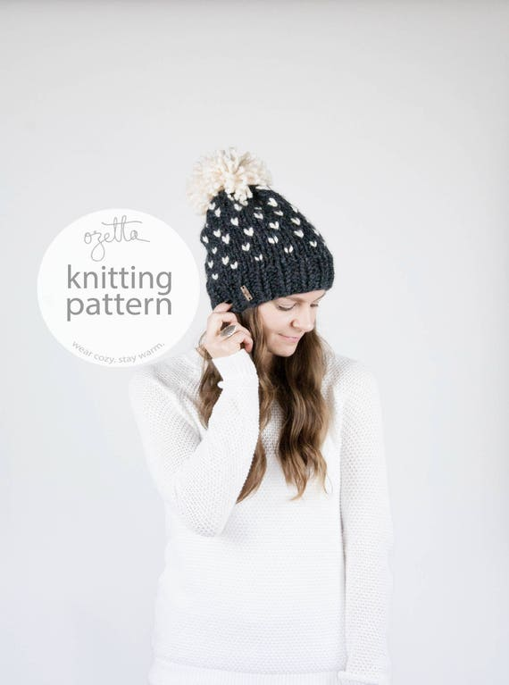 Knitting Pattern / Fair Isle Knit Hat With Pom Pom / THE