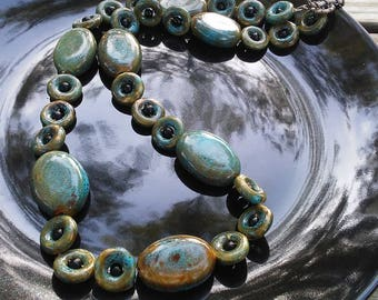 Chunky Aqua and Honey Ceramic Beaded Necklace