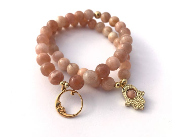 sunstone beaded charm mala bracelet