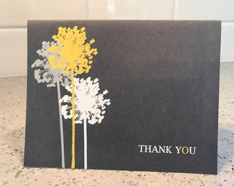 20 yellow gray dandelion note cards stationary