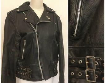 Black Leather Bicker Jacket. Vintage Rock N Roll. Racer. Size 40. Zippers