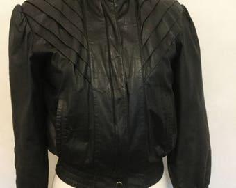 Black Leather Jacket Woman's Vintage 80's Jacket