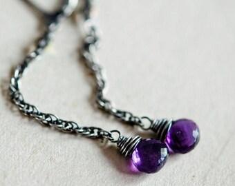 Amethyst Earrings, Dangle Earrings, Drop Earrings, February Birthstone, Amethyst Jewelry, Purple, Grape, Sterling Silver, PoleStar