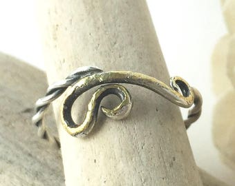 size 5 3/4 silver ring, handmade silver and gold ring, silver pinky ring, OOAK silver and gold ring