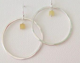 Silver hoops, yellow opal, hammered hoops, statement earrings.