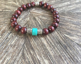 Red Wood and Turqouise Mens Bracelet