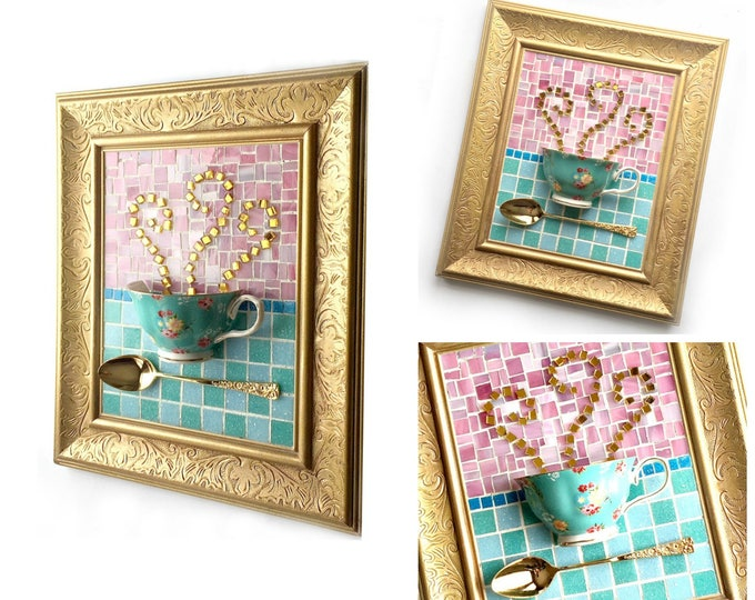 Mosaic Teacup Art, Teal Pink Mosaic Floral Teacup Art, Mixed Media Coffee Art, Framed Tea Cup Art, Tea Lover Kitchen Mosaic Art, Teacup Art