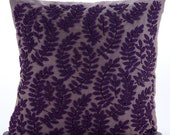 "Purple Decorative Pillow Sham Cover, Square Beaded Leaf Pattern Tropical Theme 24""x24"" Silk Pillows Covers For Couch - Two Tone Purple Leaf"