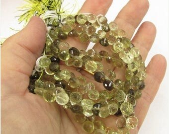 20% OFF SALE Smokey Lemon Bi Color Quartz Briolette Beads,  Onion Natural Gemstone, 8 Inches 6.5mm 7mm