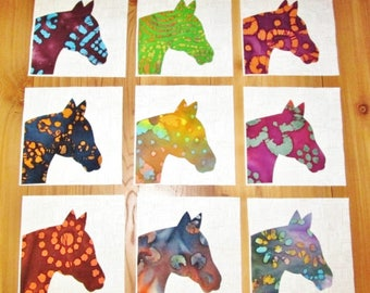 "Set of 9   Colorful Batik Fabric Horse Heads  6"" x 6""  Cotton Quilt Blocks"