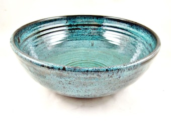 Pottery serving bowl, Ceramic serving bowl, Handmade bowl, Large teal blue bowl - In stock