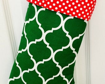 PERSONALIZED CHRISTMAS STOCKING - Green and Red Christmas Stocking,  Personalized Christmas Stocking, Large Christmas Stockings