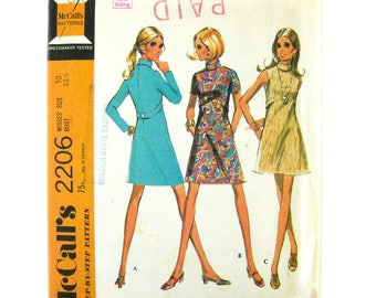1960s Sewing Pattern / Mod Mini Dress / Sheath with Back Belt and Stand Up Collar / McCall's 2206 / Size 10