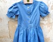 Vintage 1970/70s Authentic Girl Dirndl Tyrol Austria german Dress floral printed blue cotton size 5/6 years