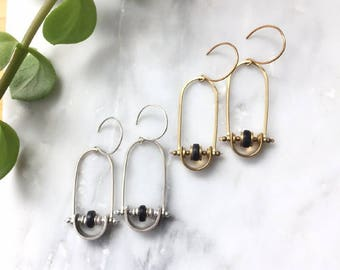 Small- Modern Swing Earrings - silver and black or gold and black