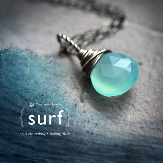 Surf - Aqua Blue Chalcedony Briolette Wire Wrapped Sterling Silver Necklace