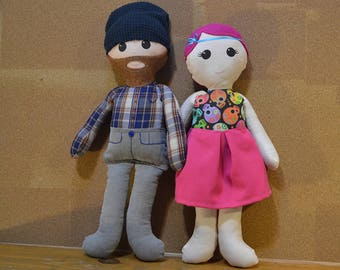 Custom Doll Family: Adult Couple cloth dolls, selfie custom personalized ragdoll, keepsake doll, handmade dolls, Christmas gifts