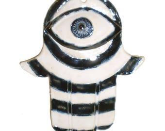 Black and White Ceramic Wall Hamsa