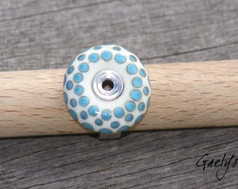 Sillage - Bague verre ivoire motif turquoise (pois) - anneau argent martelé - Taille 52 - Gaelys