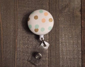 Polka Dot Badge Reel - Gold, Peach, Mint - ID Badge Holder - Name Badge - Nurse Badge - RN Badge