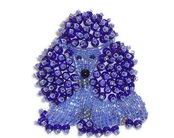 Violet Purple Delica Beaded TOY POODLE keepsake pin pendant/ Ready to Ship