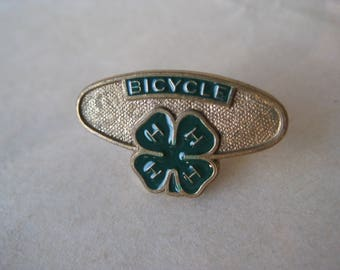 4 H Pin Lapel Bicycle Gold Green Tie Tack Vintage Enamel