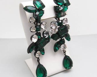 Long Rhinestone Earrings Green Kenneth Lane KJL Jewelry E8024