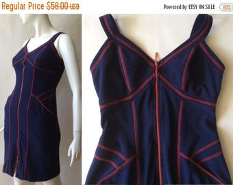 MOVING SALE 1990's Joseph Ribkoff zipper knit dress, navy blue with red stitching and details, slinky wiggle cut, extra small / size 0 - 2 /