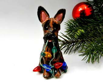 Scottish Terrier Dog Christmas Ornament Brindle Figurine Porcelain