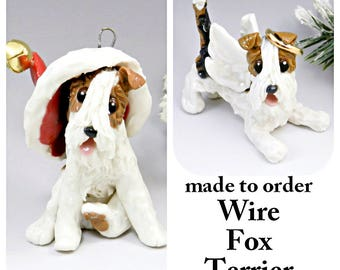 Wire Fox Terrier Porcelain Christmas Ornament Figurine Made to Order