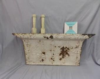 Antique Repurposed Tin Ceiling Mantle Shelf Wall Ledge Shabby Vintage Chic Vanilla White 16x36 310-17P