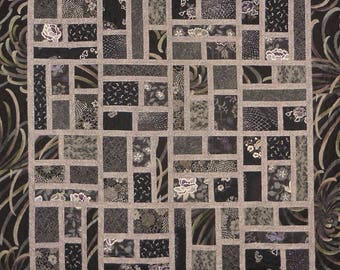 Patchwork Quilt - black and purple Japanese County Lines
