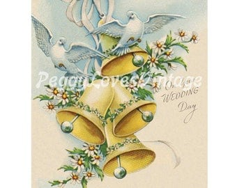 Wedding 8 Beautiful Yellow Bells with White Doves a Digital Image from Vintage Greeting Cards - Instant Download