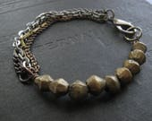 Unisex Bracelet - African Bronze Beads with Mixed Chains