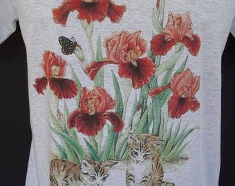 Iris Flower Kittens Butterflies Plus Size T shirt Light Gray Size 2XL