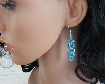 Beaded Earrings, Everyday Earrings, Earrings, Drop Earrings, Statement Earrings, Dangle Earrings, Gift For Women, Crystal Earrings, Blue
