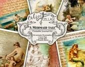 A Mermaid Tale, Junk Journal Kit, Printable Kit, Mermaid, Junk Journal, Digital Paer, Vintage Mermaids, Nautical, Ocean, Calico Collage