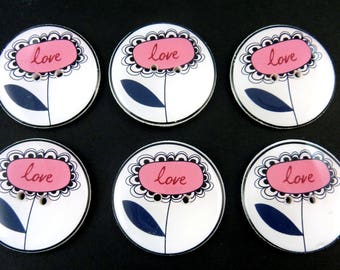 """6 Pink Love Flower Buttons.  Pink and Black Flower Handmade Buttons.  Sewing Buttons. 1"""" or 25 mm."""