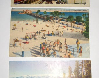 3 Vintage Vacation Postcards  -- for Collecting, Altered Art, Scrapbooking, Crafts