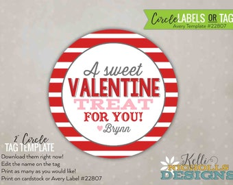 Avery 22807 etsy custom stripes valentines day stickertag personalized treat bag circle labels red stripes pronofoot35fo Images