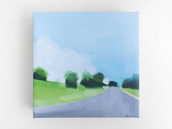 Small Landscape Painting - Country Road
