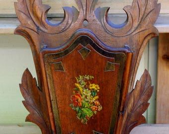 Victorian Black Forest Carved Wood Wall Pocket