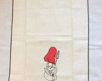 ON SALE Vintage Towel Embroidered Chef with Red & White Polka Dot Applique Hat