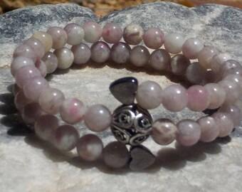 Tourmaline Mala Bracelet- prayer beads- pink - 54 beads