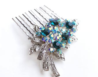 Comb - Teal Crystal Hair Comb with AB Crystals - Vintage Style Hair Piece - Silver Crystal Bridal Comb - Wedding Hair Comb - Brooch