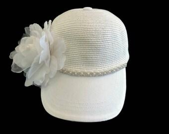"Women's Baseball Cap, Golf Visor Hat, Golf Gift, Visor Ball Cap in White Twill, and Straw with Pearl Hatband - ""Cali Girl"""