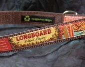 Adjustable Dog Collar from Recycled Kona Longboard Lager Beer Labels