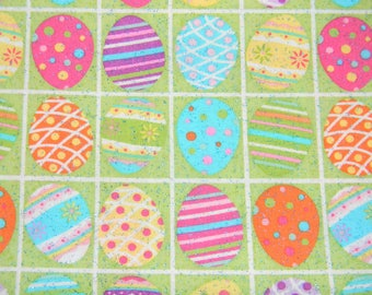 Easter Egg Cotton Fabric That Twinkles with Blue Sparkles